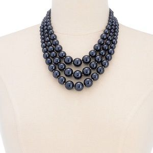 FAUX PEARL THREE-COLLAR NECKLACE